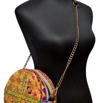 Exclusive Tribal Vintage Canteen-Shaped Handbag with Golden Zari Embroidery, Antique Threadwork and Tassels (01)