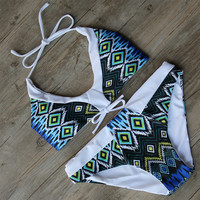 Bathing Suit Swimwear Print Bikinis Push Up Bikini