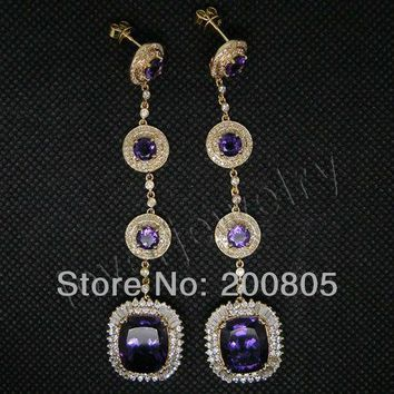 14KT Yellow Gold Round 5mm Cushion 10x12mm Vintage Diamond Purple Amethyst Earrings
