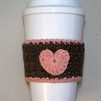 Crochet Brown and Pink Heart Coffee Cup Cozy