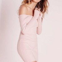 Missguided - Off Shoulder Knitted Ribbed Dress Pink