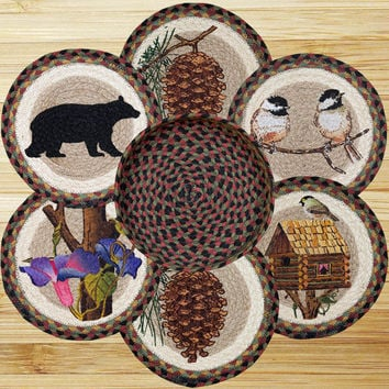 Cabin Bear Round Trivets in a Basket (Set of 7)
