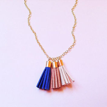 Mixed colors tassel , tassel necklace, tassel jewelry, statement necklace , bohemian necklace, tassel fringe necklace