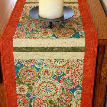 Suzani Quilted Table Runner Blue Green and Rust