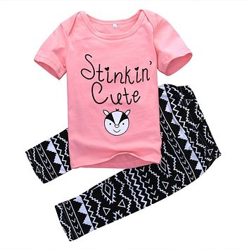 New Fashion baby Girl clothes Newborn Infant Baby Kids Girls T-shirt Tops+Long Pants Outfits Clothes