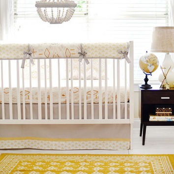 Gold & Gray Tribal Crib Rail Cover Head West Collection