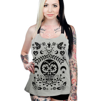 Too Fast Day Of The Dead Mexican Sugar Skull Tattoo Art Criss Cross Back Top