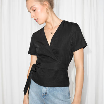 Wrap Tie Blouse - Black - Blouses - & Other Stories US