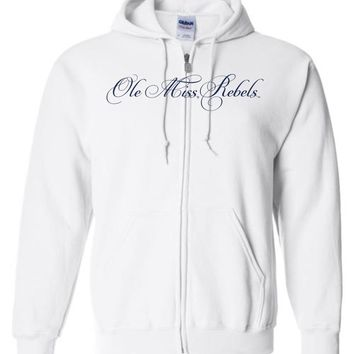 Official NCAA University of Mississippi Rebels Ole Miss Hotty Toddy Basic Zip Hoodie - 61UOLM