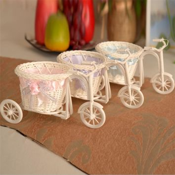 Pretty Small Size Flower Basket Vase Handmade Rattan Baskets Tricycle Bicycle Home Decor Garden Wedding Party Decoration