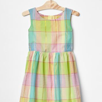 Gap Girls Metallic Plaid Fit & Flare Dress
