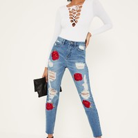 Missguided - Blue Riot Embroidered Rose Ripped Mom Jeans