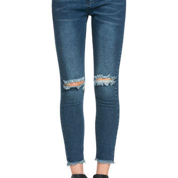 Destroyed Knee Skinny Jeans Dark Blue