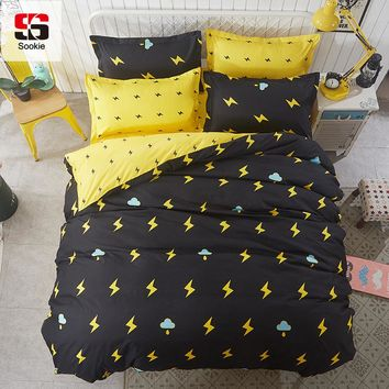Sookie 3pcs King Size Cartoon Bedding Sets Queen Size Cute Girl Duvet Cover Sets Flash Pattern for Boys Pillowcases Bed Linen