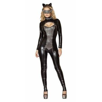 Adult Kitty The Kat Super Hero Rhinestone Wet Look Halloween Costume