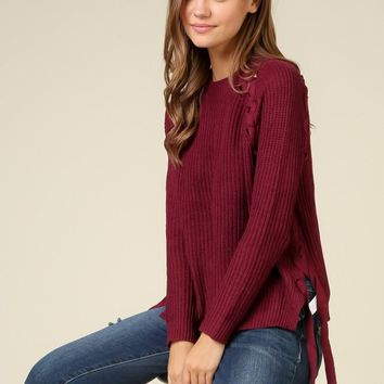 Sweater With Lace Up Details on Sides - Wine