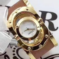 GUCCI Trending Women Men Personality Quartz Movement Bracelet Brown Belt Gold Shell White Dial I