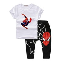 Spiderman Kids Clothes Summer Summer 2017 Children Costume boys clothes fashion toddler boys clothing sets Hot Sales T601