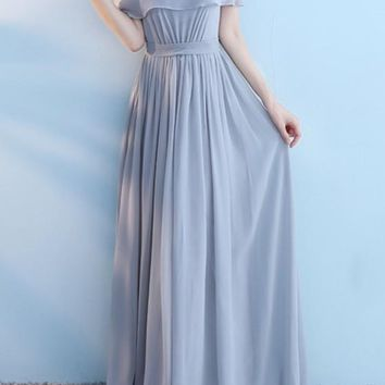 Grey Pleated Lace-up Off Shoulder Boat Neck Short Sleeve Bridesmaid Maxi Dress