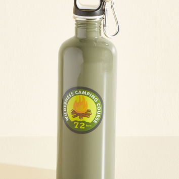 Badge Attitude Water Bottle in Camping Course | Mod Retro Vintage Kitchen | ModCloth.com