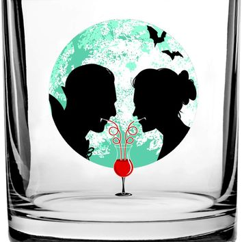 Bloody Couple Vampire Date Silhouettes w/Moon & Bats - 3D Color Printed Scotch Whiskey Glass 10.5 oz