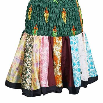 Mogul Interior Delia Women's Silk Mini Multicolor Flirty Skater Skirts OneSize (Dark-Green,Multi): Amazon.ca: Clothing & Accessories