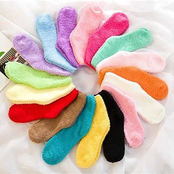 Pure Color Women Socks Thermal Coral Fleece Floor Socks Plush Soft Candy Color Towel Sock 2016 New Female Thick Warm Clothing