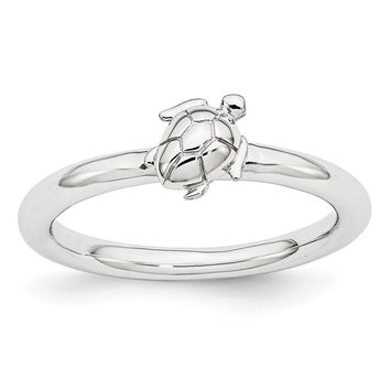 Rhodium Plated Sterling Silver Stackable 8mm Sea Turtle Ring