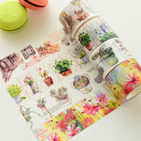 Beautiful 3cm*10m Color Flower and Plant Washi Tape Box packing Adhesive Tape DIY Scrapbooking Sticker Masking Tape