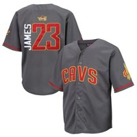 Youth Cleveland Cavaliers LeBron James Majestic Charcoal NBA Baseball Jersey