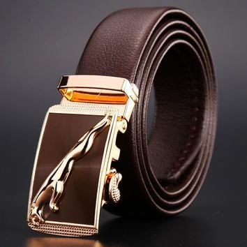 Silver jaguar men belt luxury  designer strap high quality fiber leather
