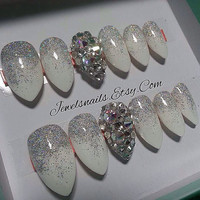 Ready to ship*,Ombre glitter Swarovski Stilleto Custom nails Press on Nails False full nails  fake nails Gel nail art