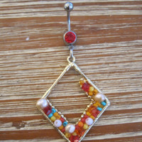 Belly Button Ring - Body Jewelry - Colorful Beaded Diamond Shaped Charm with Red Gem Stone Belly Button Ring