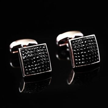 Vintage 1.3cm Men's Black Cuprum Enamel Color Cufflink(1 Pair)
