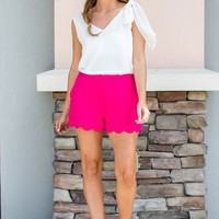 Scalloped To Perfection Shorts - Bright Pink