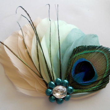 Bridal Hairpiece, Feather Fascinator, Bridal Hairpiece, Ivory, Mint Green, Seafoam, Peacock, Vintage Wedding