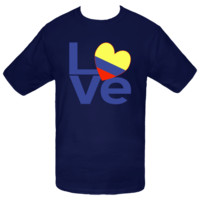 The word LOVE in blue letters with a heart shaped flag of Colombia for the O. Fun for Valentine's Day or any special time you want to share your pride in your ancestry, culture and heritage. Choose from a wide array of T-shirts, gifts and stuff that sticks