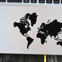 World map decal, world decal,world map sticker, laptop decal, vinyl decals, macbook decal, wall sticker, car decal, wall decal