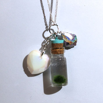 pastel charms with nano MARIMO moss ball jar necklace