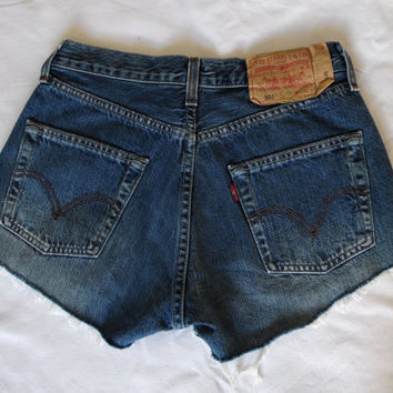 High waisted blue Levis denim jean shorts vintage retro cut off frayed button fly Levi 501 jean shorts Small Medium