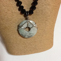 "Peace ""Jade"" necklace, 45mm donut pendant, faceted 9X12mm cut glass beads, crystals"