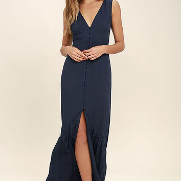Simpatico Navy Blue Maxi Dress