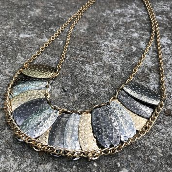 Tri-Metallic Tone Bib Choker Necklace