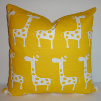Decorative Pillow Yellow & White Giraffe Pillow Nursery Baby Pillow Covers 16x16