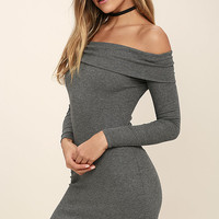 Made with Love Dark Grey Off-the-Shoulder Dress