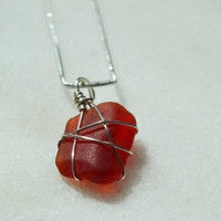 Red Wire wrapped Texas SeaGlass Pendant Necklace~ Red Beach Glass Ocean Inspired Jewelry Christmas gift, Birthday present for Mermaid