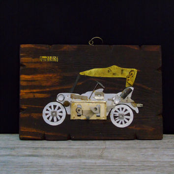 1916 Ford Car Plaque Up-Cycled Art Reclaimed Barn Wood Vintage Wall Hanging Folk Art Steam Punk