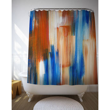 Red And Blue Shower Curtain, Abstract Art, Paint Brushes, Bath Accessories, Home Decoration