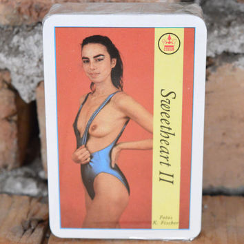 Vintage naked playing cards Sweetheart II brunette Full deck sealed cards Naked girls Naked ladies German naked playing card Set of 55 cards