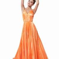 Dressystar Long Evening Satin Dress Party Ruffle Gown 2014 for Women
